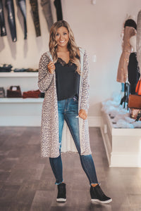 Leopard Cashmere Brushed Cardigan