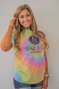 Pre Order Tie dye Bird and Co Graphic Tee