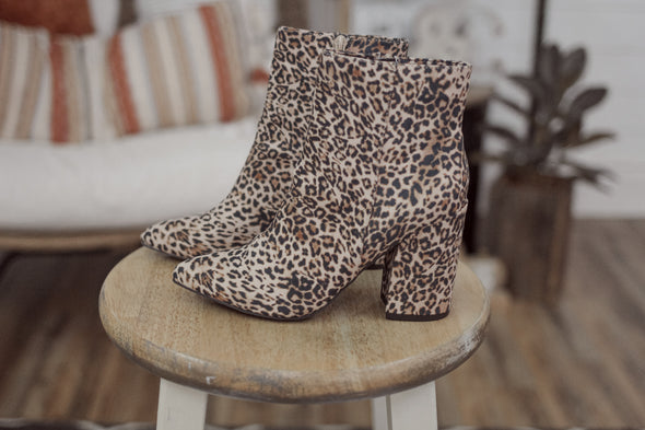 Cheetah Faux Suede Pointed Toe Bootie