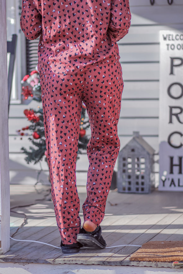 Z Supply Rosy Red Dream State Heart PJ Set