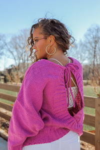 Pink Open Back Round Neck Sweater