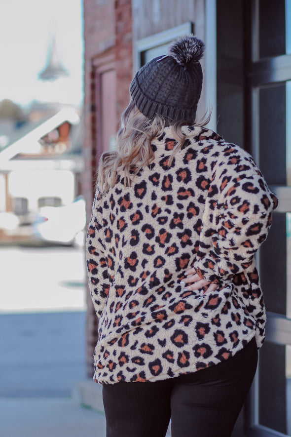 Curvy Taupe Leopard Sherpa Pullover