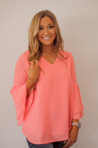 Spring Bell Sleeve Blouse in Several Colors