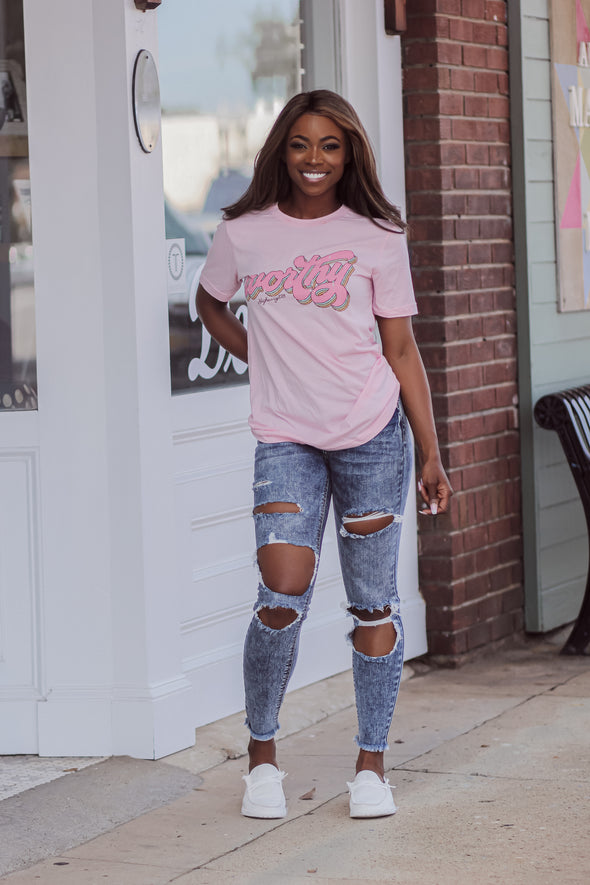 Pink Worthy Graphic Tee