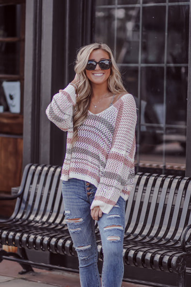 Sage and Rose Striped Sheer Knit Sweater
