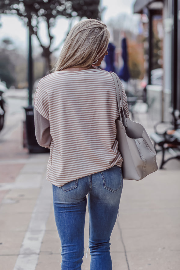 Mocha and Taupe Striped Contrast Top