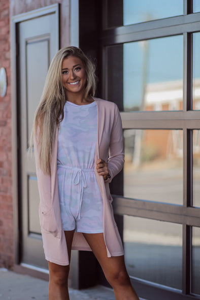 Blush Light Camo Short Sleeve Romper