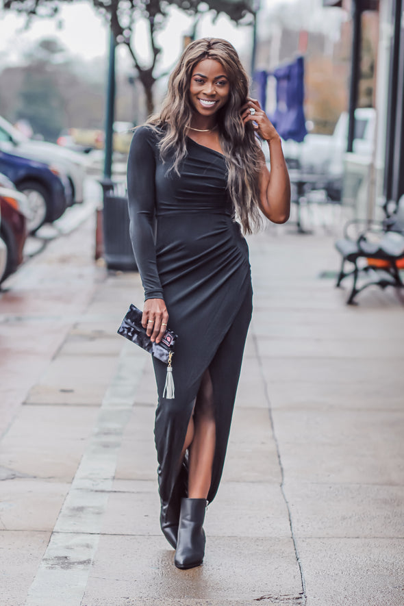 Black Ruched One Shoulder Holiday Maxi Dress