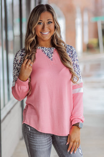 Leopard and Pink Varsity Top