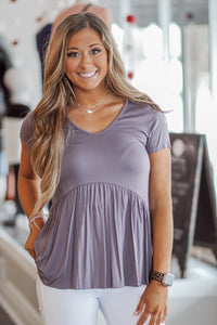 Purple Short Sleeve Babydoll Top