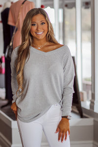 Long Sleeve Ribbed Top in Two Colors