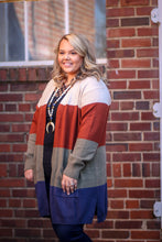 Plus Size Colorblock Cream Cardigan
