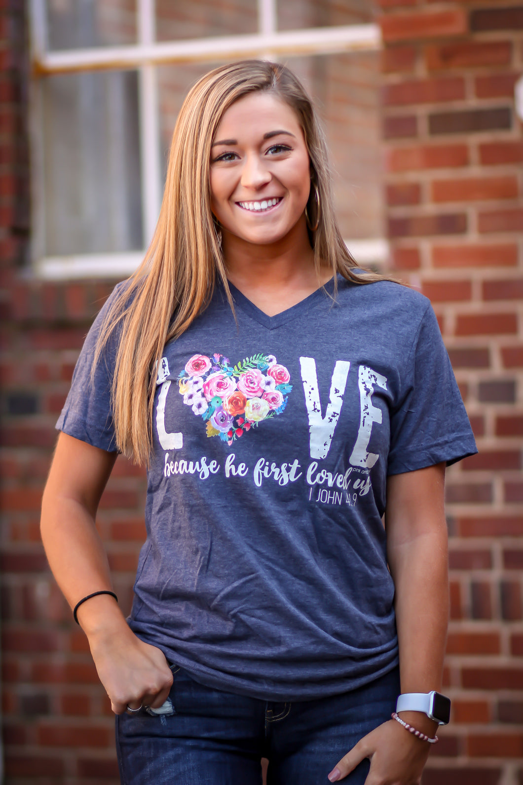 Love because... Navy Graphic V Neck Tee