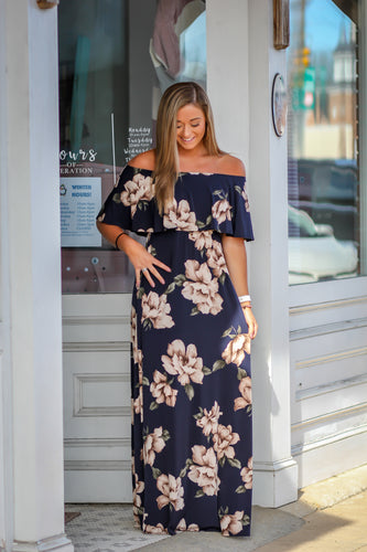 Navy Floral Ruffle Maxi Dress
