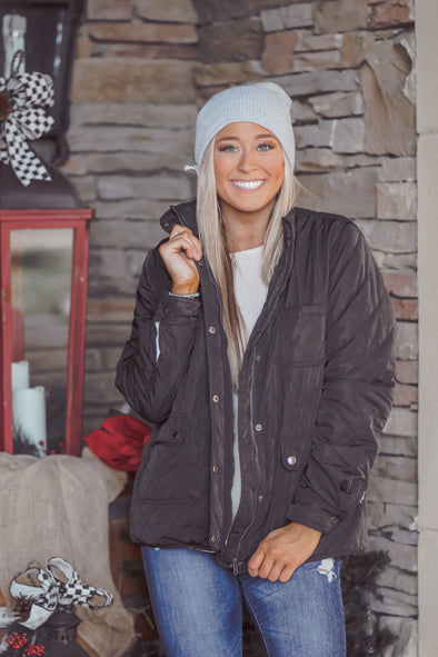 Black Quilted Fleece Lined Jacket