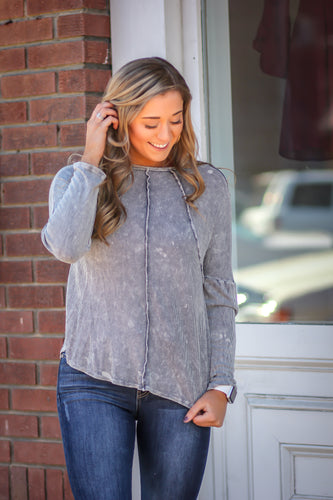 Grey Dye Cut Long Sleeve Top