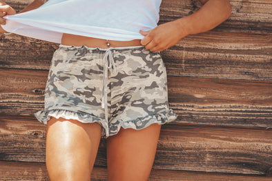 Camo Ruffle Trim Shorts