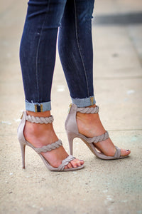 Taupe Suede Braided High Heel