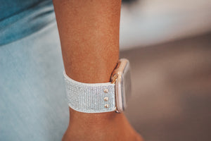 Erimish Stretchy Silver Glitter Apple Watch Band