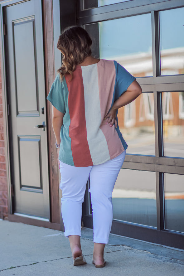 Curvy Multi Stripe V Neck Blouse