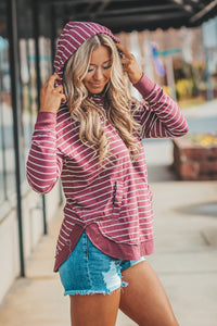 Z Supply Striped Dakota Pullover in Wine
