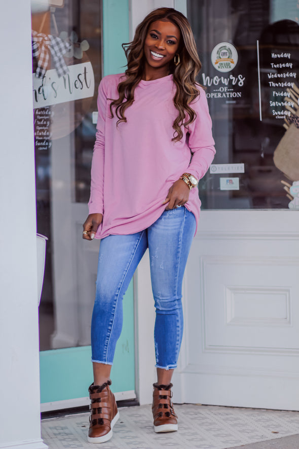 Solid Long Sleeve Tunic Top in Mauve