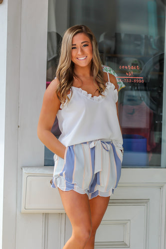 Blue Scallop Striped Shorts