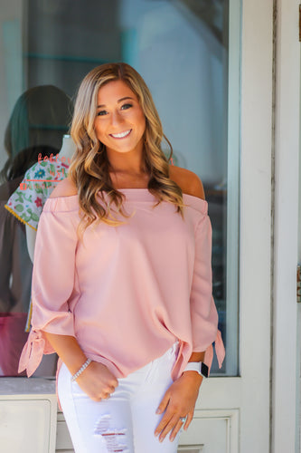 Peach Off the Shoulder Woven Top