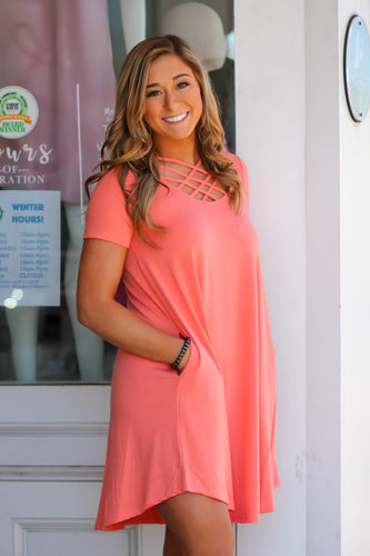 Criss Cross Short Sleeve Dress in Many Colors
