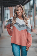 Rust and Camo Chevron Color Block Waffle Knit Top