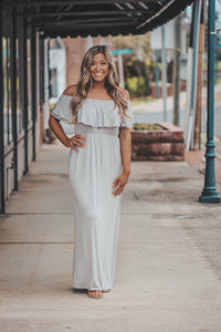 Stone Off Shoulder Ruffle Maxi