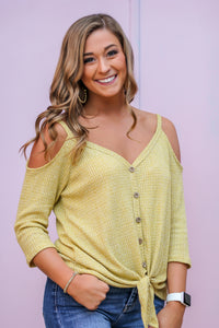 Lime Two tone waffle knit top