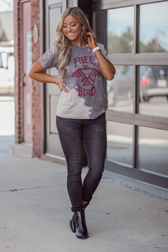Charcoal Bleach Dyed Free Bird Graphic Tee