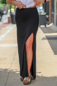 Z Supply Side Slit Maxi Skirt in Black