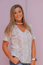 Blush Snakeskin Keyhole Top