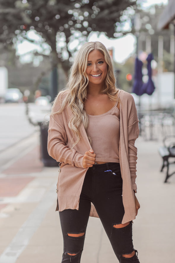 Solid Cardigan And Cami Set in Two Colors