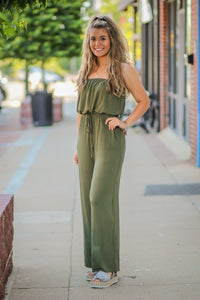 Strapless Olive Jumpsuit