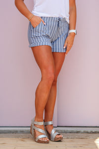 Z Supply Pinstripe Blue Shorts