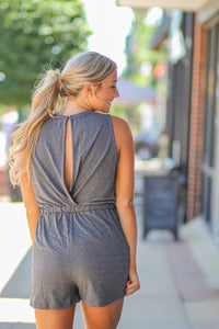 Charcoal Cutout Knit Romper
