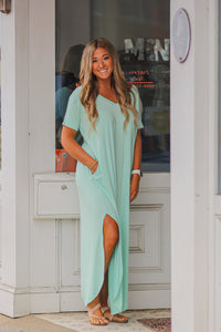 Short Sleeve Solid Maxi Dress in Several Colors
