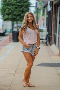 Heather Grey Distressed Denim Shorts