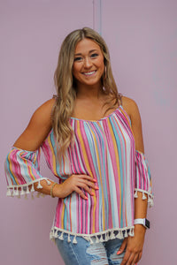 Multi Striped Off the Shoulder Top