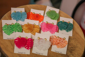 Palm Leaf Earrings in Many Colors