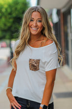 White Solid Sequin Pocket Tee