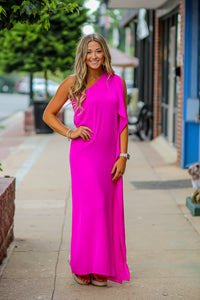 Berry One Shoulder Maxi Dress