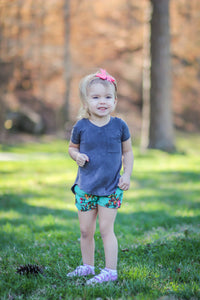 Floral Jade Toddler Shorts