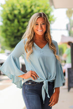 Tie Front Bell Sleeve Woven top in Two Colors