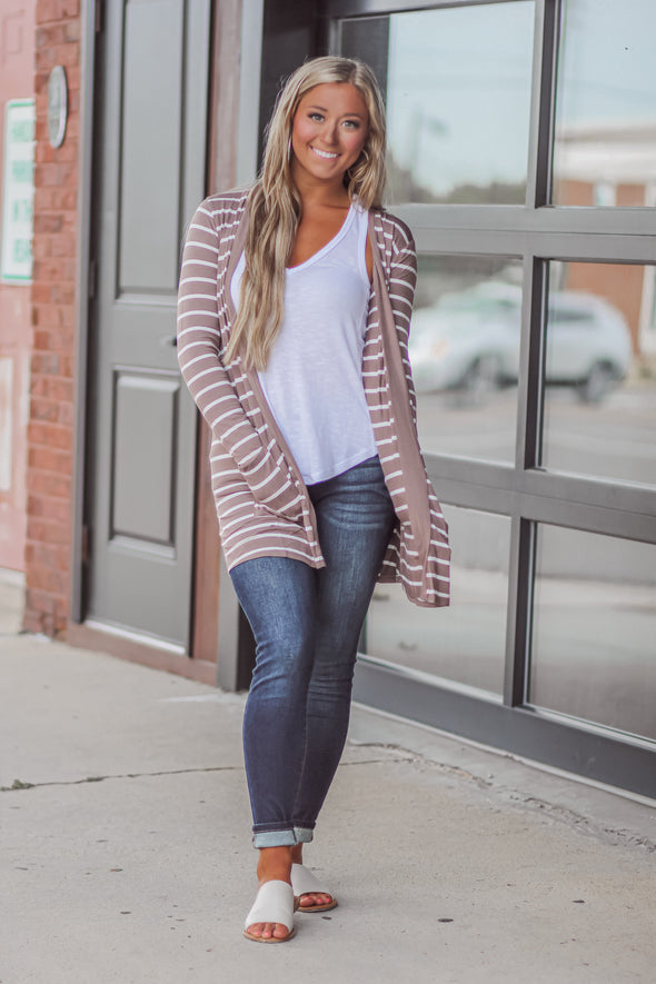 Stripe Open Front Cardigan In Regular And Curvy