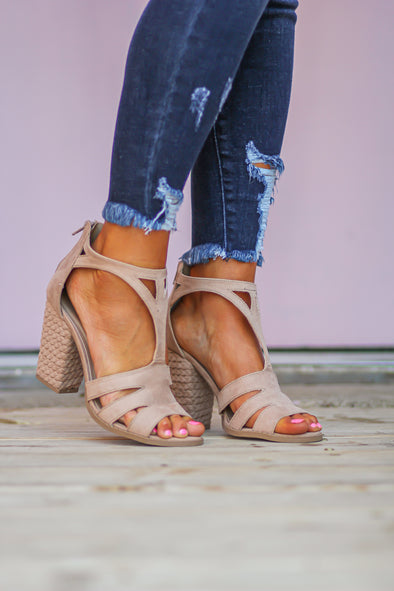 Warm Taupe Suede Strappy Block Heel