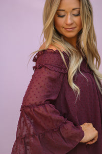 Dotted Swiss Off the Shoulder Top in Wine